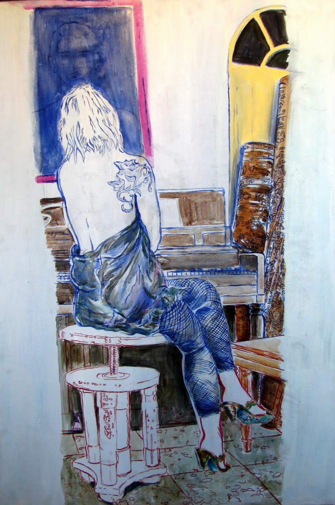 Longing-Oil-and-ink-on-canvas-100X70-