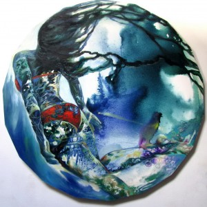 Swimmer in red- Oil and ink  on round canvas Diameter115cm.jpg