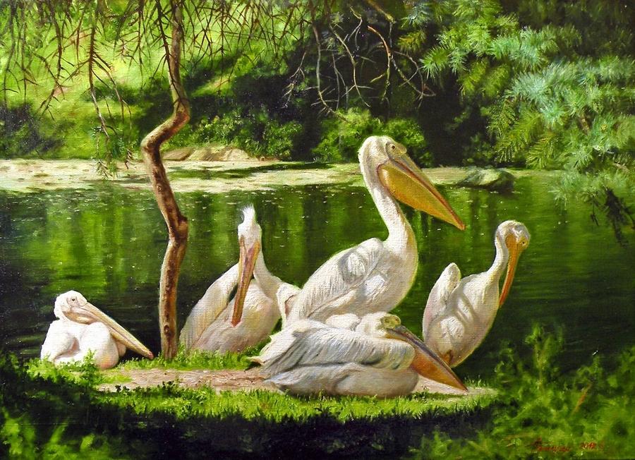 Семья пеликанов, х.м., 50х70, 2012. 2.jpg